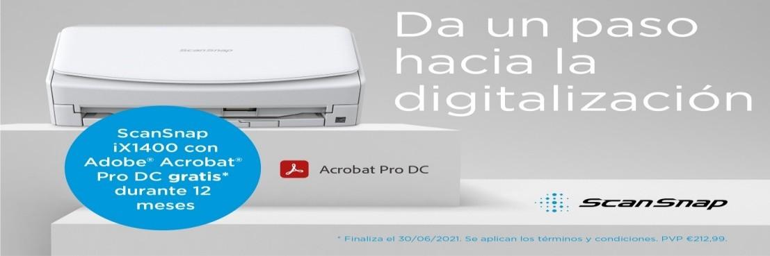 ScanSnap iX1400 40 ppm ADF 50 P. Y CONSIGA GRATIS 12 meses de suscripción para Adobe® Acrobat® Pro DC